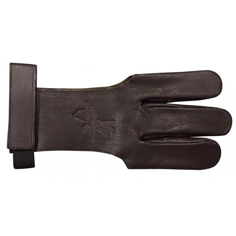 Gant en cuir marron avec bande auto-grippante pour le maintien au niveau du poignet