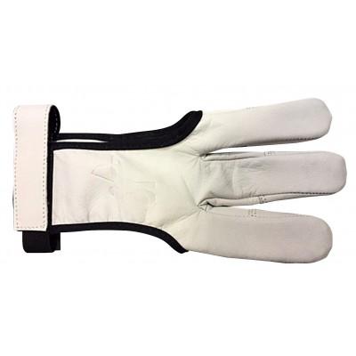 Gant cuir blanc avec renfort doigt en cuir et bande auto-grippante pour le maintien au niveau du poignet